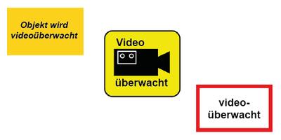 Beispielschilder Videoüberwachung