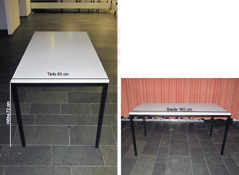 Tische fest: Tisch hat die Maße: Höhe: 72 cm, Tiefe: 80 cm, Breite 160 cm.